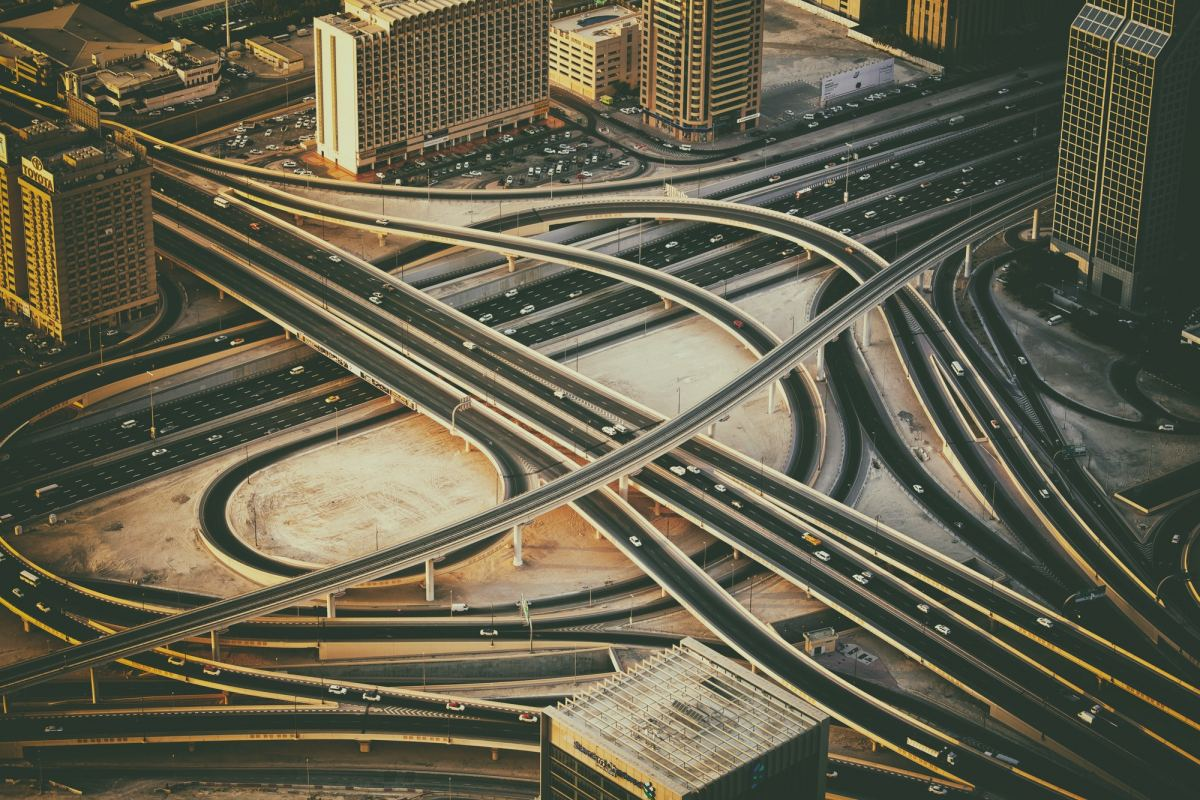 Cross roads in Dubai, UAE. Modern urban infrastructure.